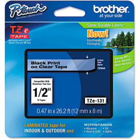 """Brother P-Touch TZe Labeling Tape, 1/2""""W, Black on Clear by"""