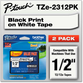 """Brother P-Touch Tze Labeling Tape, 1/2'""""W, Black on White, 2/Pack by"""