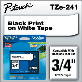"Brother® P-Touch® Tze Labeling Tape, 3/4""W, Black on White"