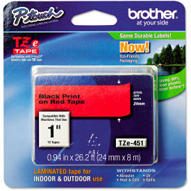 """Brother P-Touch TZe Labeling Tape, 1""""W, Black on Red by"""