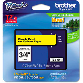 """Brother P-Touch TZe Labeling Tape, 3/4""""W, Black on Yellow by"""