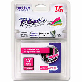 """Brother P-Touch TZ Labeling Tape, 1/2"""" x 16.4 ft., White/Berry Pink by"""