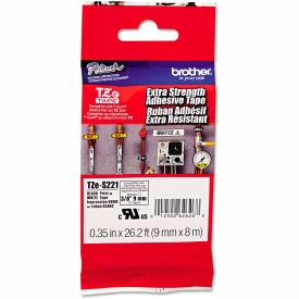 """Brother P-Touch TZe Extra Strength Labeling Tape, 3/8""""W, Black on White by"""