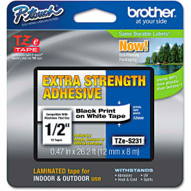 """Brother P-Touch TZe Extra Strength Labeling Tape, 1/2""""W, Black on White by"""