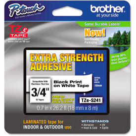 """Brother P-Touch TZe Extra Strength Labeling Tape, 3/4'""""W, Black on White by"""