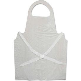 "Boardwalk® BWK390 Disposable Apron, White, Poly, 28""W x 45""L, 1.25 Mil, One Size, 100/Pack"