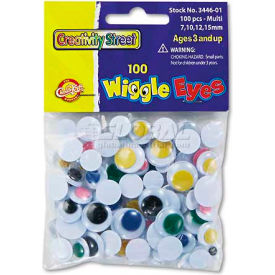 Creativity Street 3446-01 Wiggle Eyes Assortment, Assorted Sizes, Assorted Colors, 100/Pack