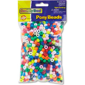 Chenille Kraft 3552 Pony Beads, Plastic, 6mm x 9mm, Assorted Colors, 1000/Pack