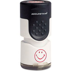 "ACCUSTAMP® Pre-Inked Round Stamp with Microban, Smiley, 5/8"" dia., Red"