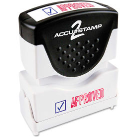 Accustamp2 Shutter Stamp with Microban, Red/Blue, APPROVED, 1 5/8 x 1/2