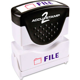 Accustamp2 Shutter Stamp with Microban, Red/Blue, FILE, 1 5/8 x 1/2