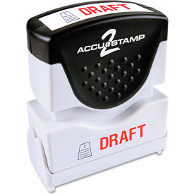 Accustamp2 Shutter Stamp with Microban, Red/Blue, DRAFT, 1 5/8 x 1/2