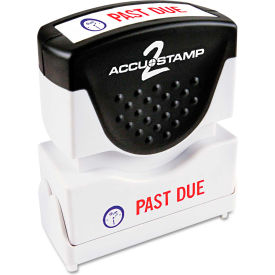 Accustamp2 Shutter Stamp with Microban, Red/Blue, PAST DUE 1 5/8 x 1/2