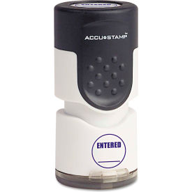 """ACCUSTAMP® Pre-Inked Round Stamp with Microban, ENTERED, 5/8"""" dia, Blue"""
