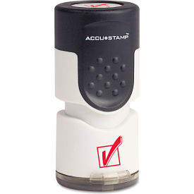 """ACCUSTAMP® Pre-Inked Round Stamp with Microban, Check Mark, 5/8"""" dia, Red"""