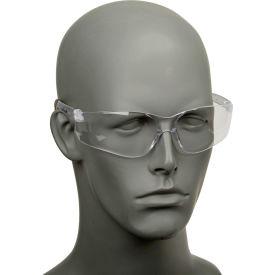 Crews BK110 BearKat Safety Glasses, Wraparound, Black Frame/Clear Lens