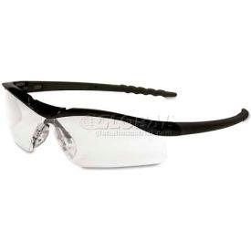 Crews DL110 Dallas Wraparound Safety Glasses, Black Frame, Clear Lens