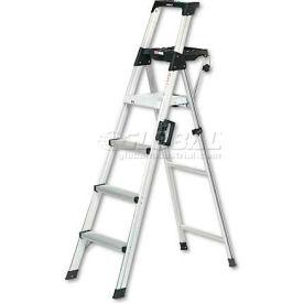 Cosco 6 Ft. Lightweight Alum. Folding Step Ladder W/Leg Lock & Handle, 300Lb Cap - CSC2061AABLD