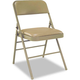 Cosco® Triple Braced Vinyl Upholstered Folding Chair - Taupe (Carton of 4)