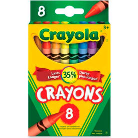 Crayola 520008 Classic Color Pack Crayons, Tuck Box, 8 Colors/Box