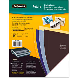 Fellowes® Futura Binding System Covers, Square Corners, 11 x 8 1/2, Black, 25/Pack