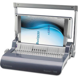 Fellowes® Quasar+ 500 Manual Comb Binding Machine, 18-1/8 x 15-3/8 x 5-1/8, Metallic Blue