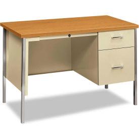 """HON® Steel Desk - Single Right Pedestal - 45-1/4""""W x 24""""D - Oak/Putty"""