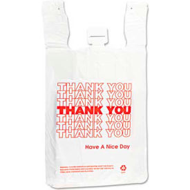 "Inteplast Group T-Shirt Thank You Bag 12""L x 7""W x 3""H White 500 Pack"