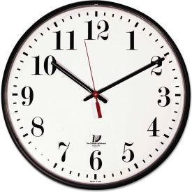 """Chicago Lighthouse Quartz Slimline Clock w/ Protective Cover, 12-3/4"""", Black"""