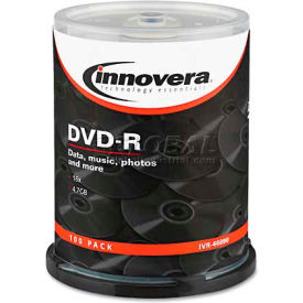 Innovera 46890 DVD-R Discs, 4.7GB, 16x, Spindle, Silver, 100/Pack