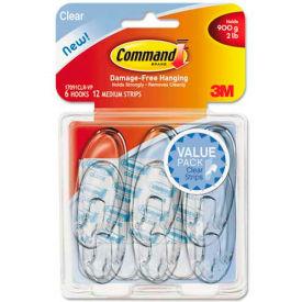 3M Command™ Clear Hooks & Strips, Plastic, Medium, 6 Hooks w/ 12 Adhesive Strips per Pack