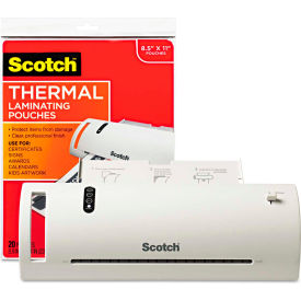 """Scotch® Thermal Laminator Value Pack, 9"""" W, with 20 Letter Size Pouches"""