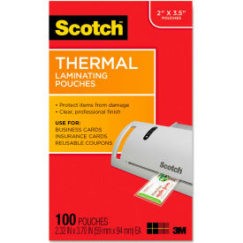 Scotch® Business Card Size Thermal Laminating Pouches, 5 mil, 3 3/4 x 2 3/8, 100/Pack