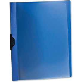 Oxford Polypropylene No-Punch Report Cover, Letter, Clip Holds 30 Pages, Clear/Blue by