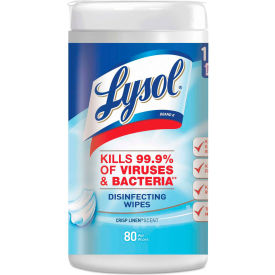 """LYSOL® Disinfecting Wipes, Crisp Linen, 7"""" x 8"""", 80 Wipes/Can, 6 Cans/Case - 89346"""