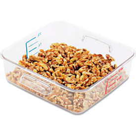 "Rubbermaid® Commercial SpaceSaver Square Containers, 2 Qt., 8 4/5""W x 8 3/4""D x 2 7/10""H, Clear"