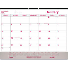 Brownline® Monthly Desk Pad Calendar, 22 x 17, 2019, White/Maroon