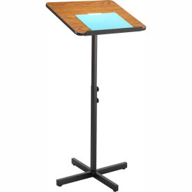 Adjustable Speaker Stand, Wood Laminate Top, Medium Oak