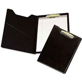 Samsill 71410 Pad Holder, Heavyweight Sealed Vinyl, Brass Clip, Inside Front Pocket, Black