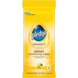 "Pledge® Beautify Lemon Enhancing Wipes, 7"" x 10"", 24 Wipes/Pack, 12 Packs - 624489"
