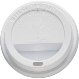 SOLO® Traveler Drink-Thru Lids, For 10 oz Cups, WH, 100/Sleeve, 10 Sleeves/Carton