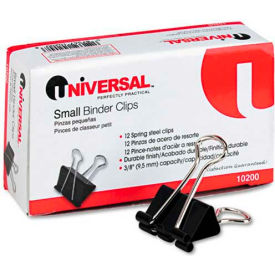 "Universal® Small Binder Clips, Steel Wire, 3/8"" Capacity, 3/4"" Wide, Black/Silver, Dozen"