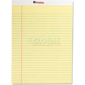 Universal® Perforated Edge Writing Pad, Legal/Margin Rule, Letter, Canary, 50-Sheet, Dozen