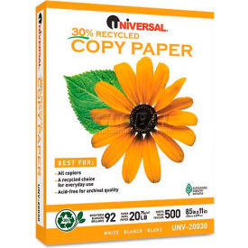 Recycled Copy Paper - Universal UNV20030 - White - 8-1/2 x 11 - 20 lb. - 5000 Sheets/Carton