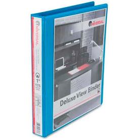"Universal® Deluxe Round Ring Vinyl View Binder, 1"" Capacity, Light Blue"