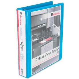 "Universal® Deluxe Round Ring Vinyl View Binder, 1-1/2"" Capacity, Light Blue"