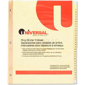 Universal One Preprinted Plastic-Coated Tab Dividers, 31 Numbered Tabs, Letter, Buff, 31/Set