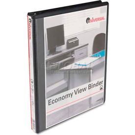 "Universal® Round Ring Economy Vinyl View Binder, 1/2"" Capacity, Black"