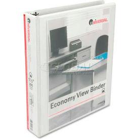"""Universal® Round Ring Economy Vinyl View Binder, 1-1/2"""" Capacity, White"""