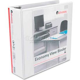 """Universal® Round Ring Economy Vinyl View Binder, 3"""" Capacity, White"""